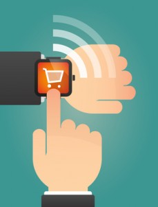 Hand pointing a smart watch with a shopping cart